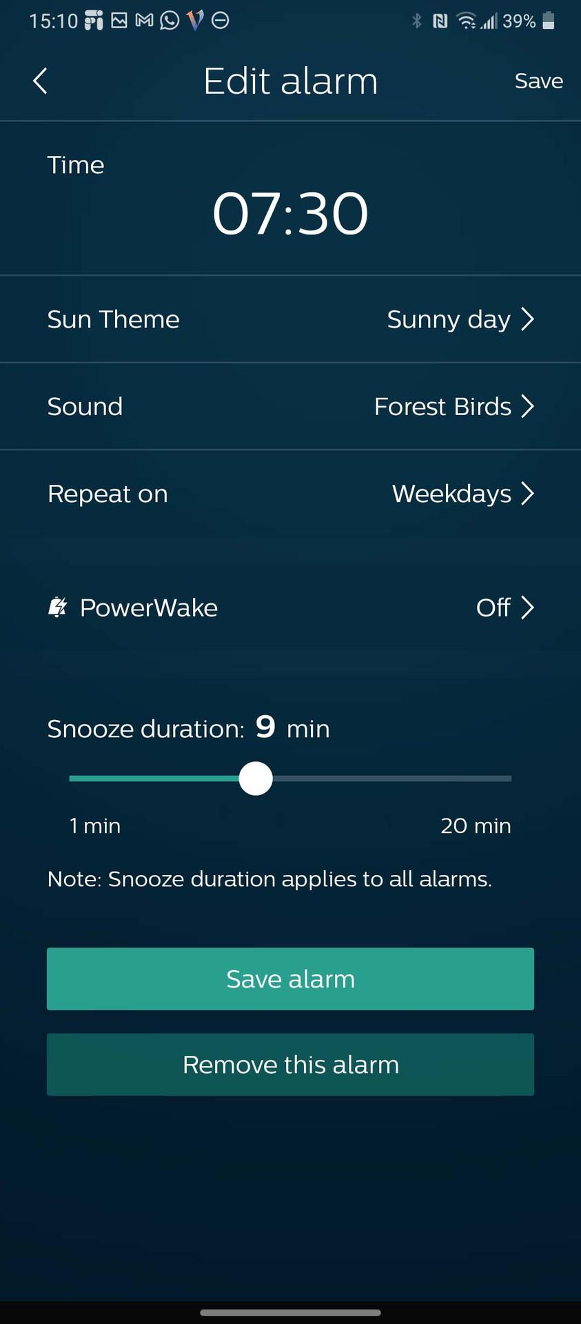 Philips SleepMapper app set alarm