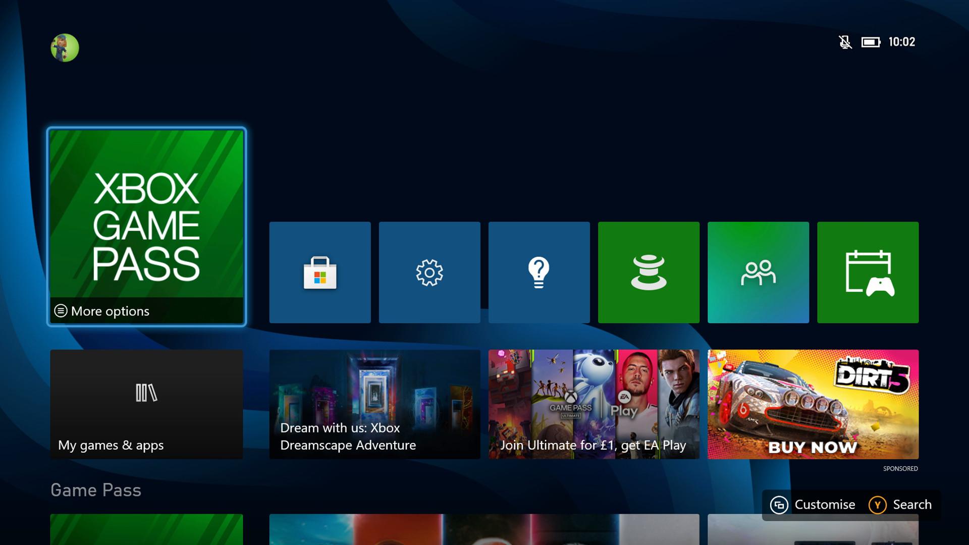 Xbox Series S home screen