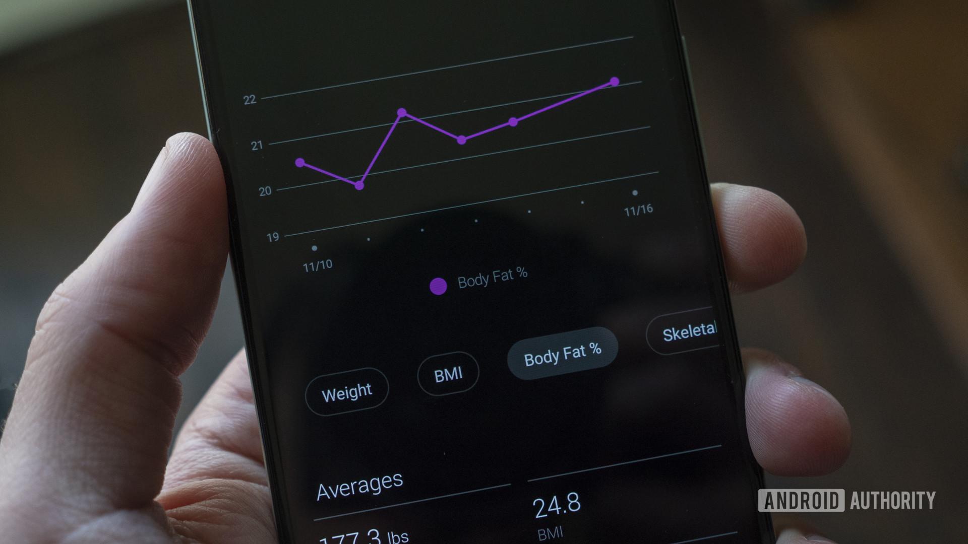 garmin index s2 smart scale review garmin connect body fat percentage trend