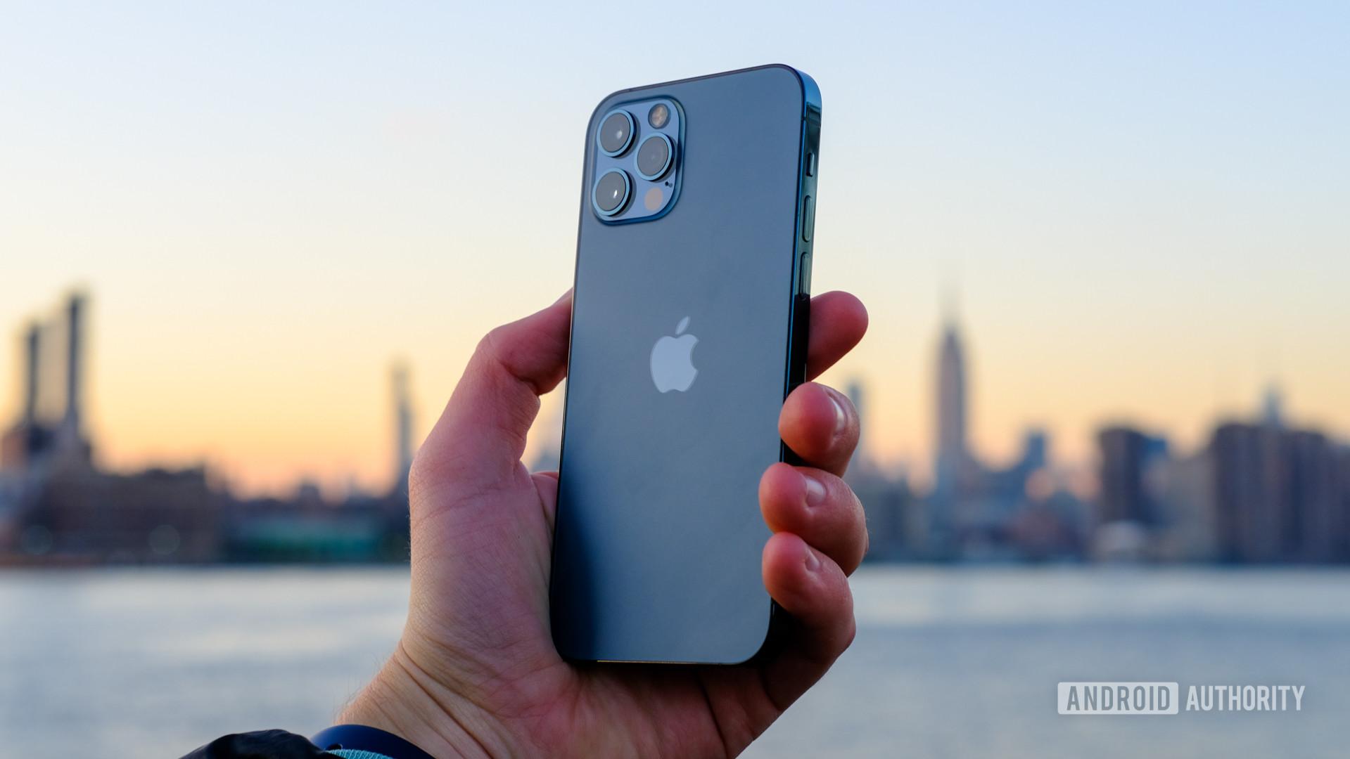 iPhone 12 Pro holding bakc of phone against sunset
