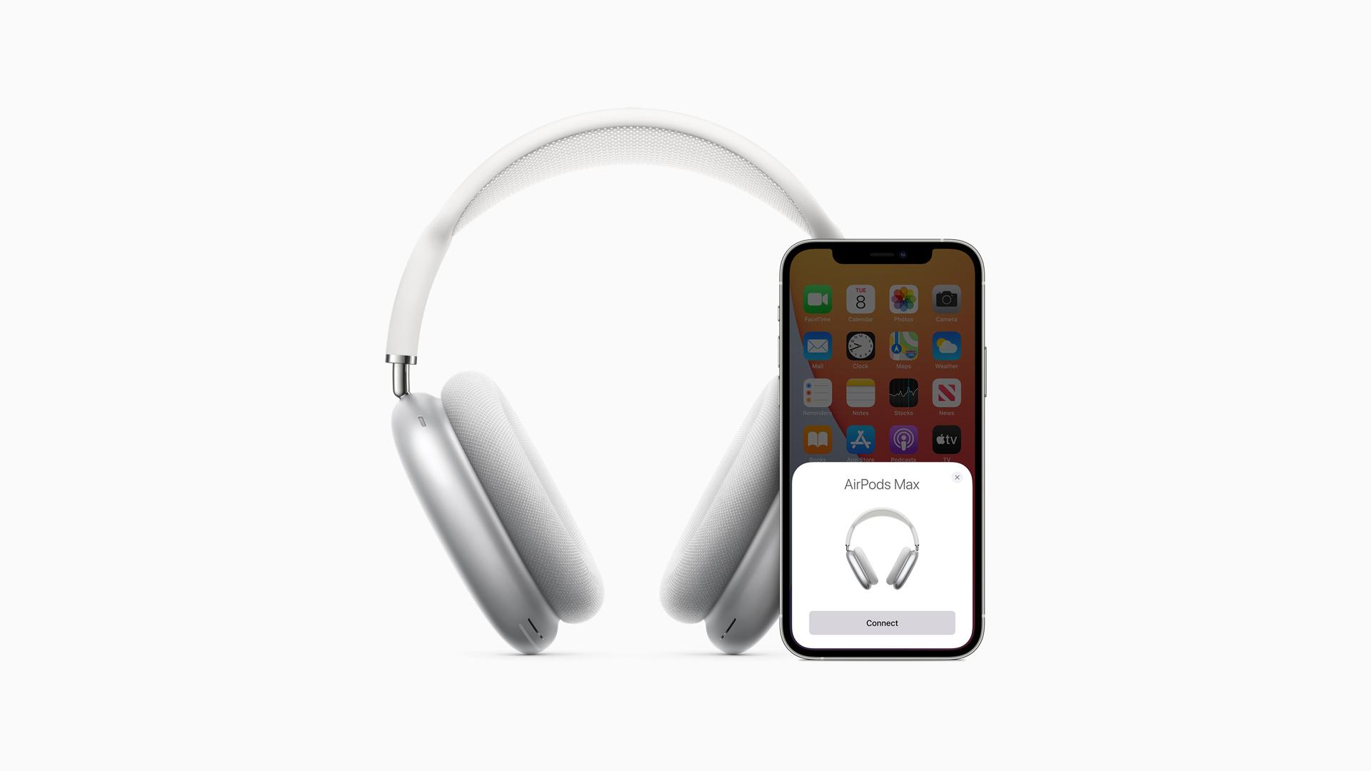 Couplage des AirPods Max avec un téléphone iOS sur fond blanc.