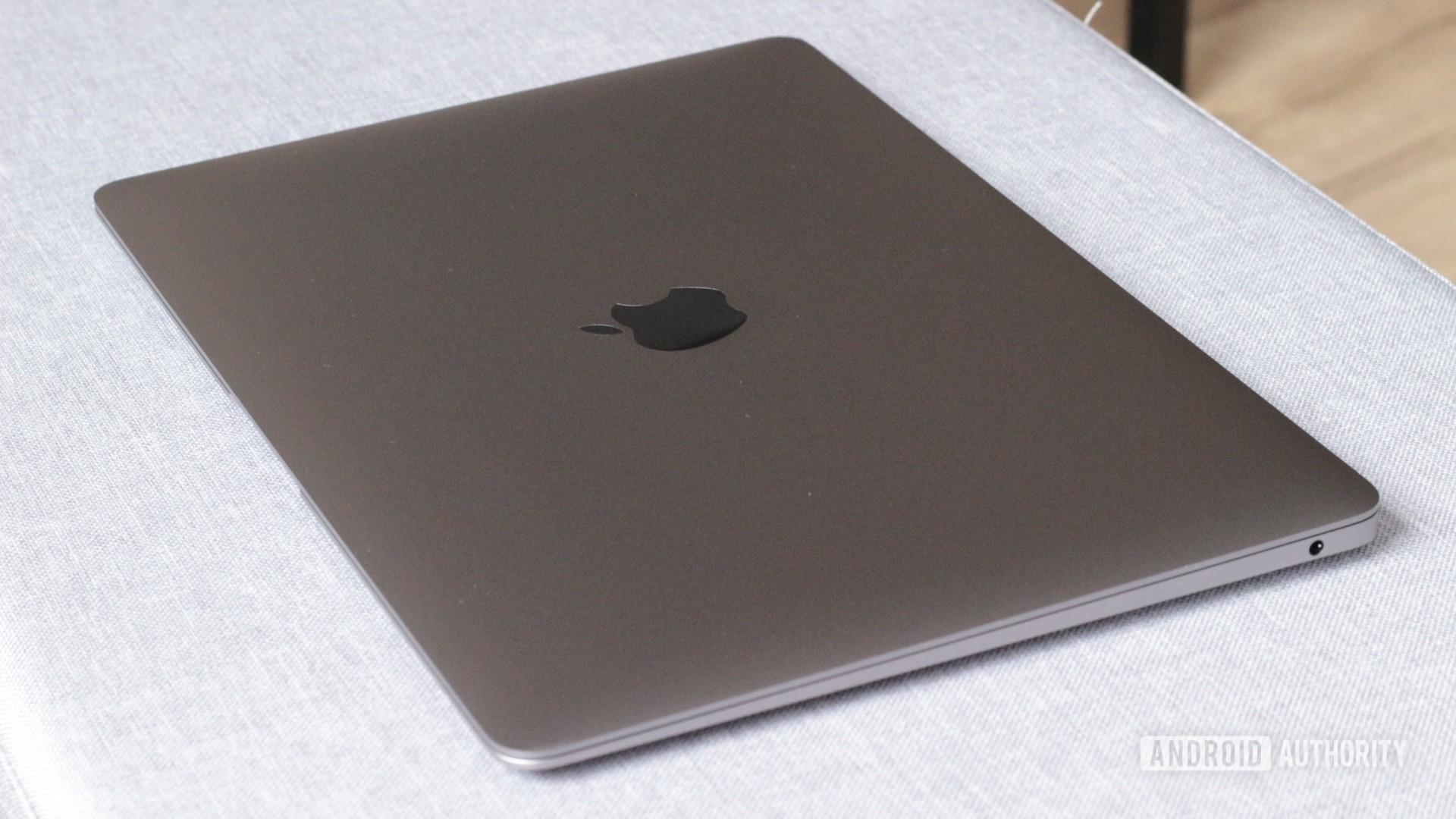 Apple MacBook Air M1 closed showing logo