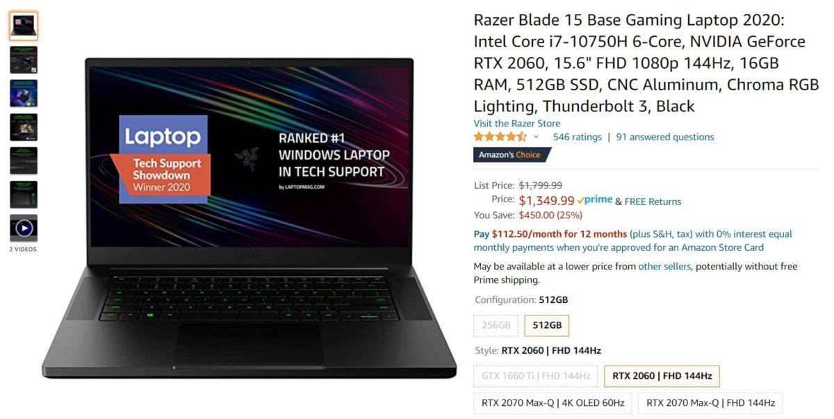 Razer Blade 15 Base Gaming Laptop 2020 Oferta de Amazon