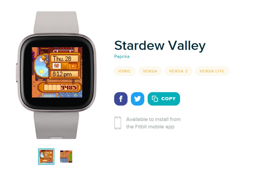 Stardew Valley Fitbit watch face app