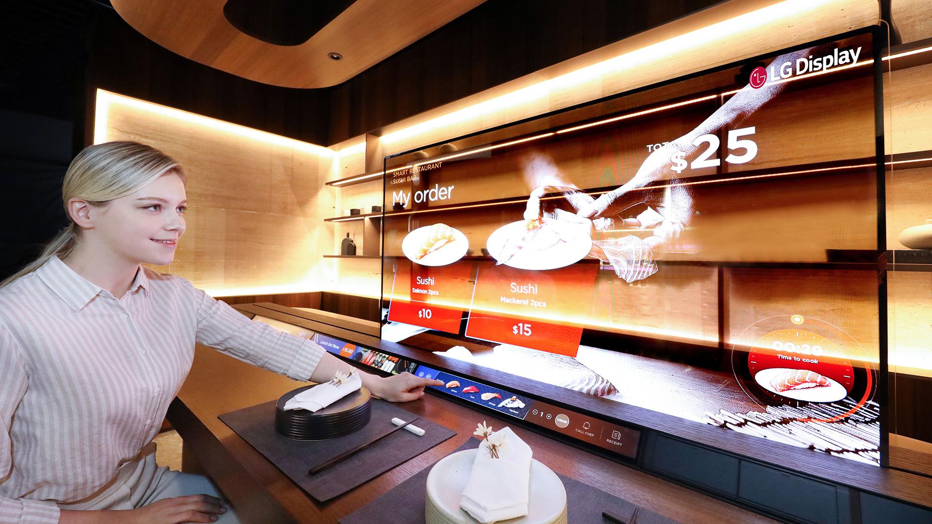 lg transparent oled display restaurant