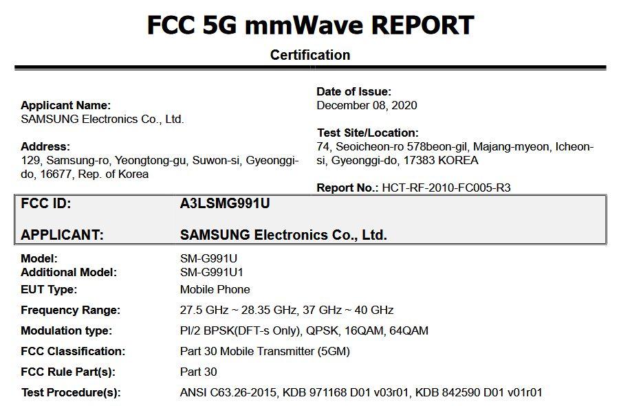 samsung galaxy s21 fcc listing 2