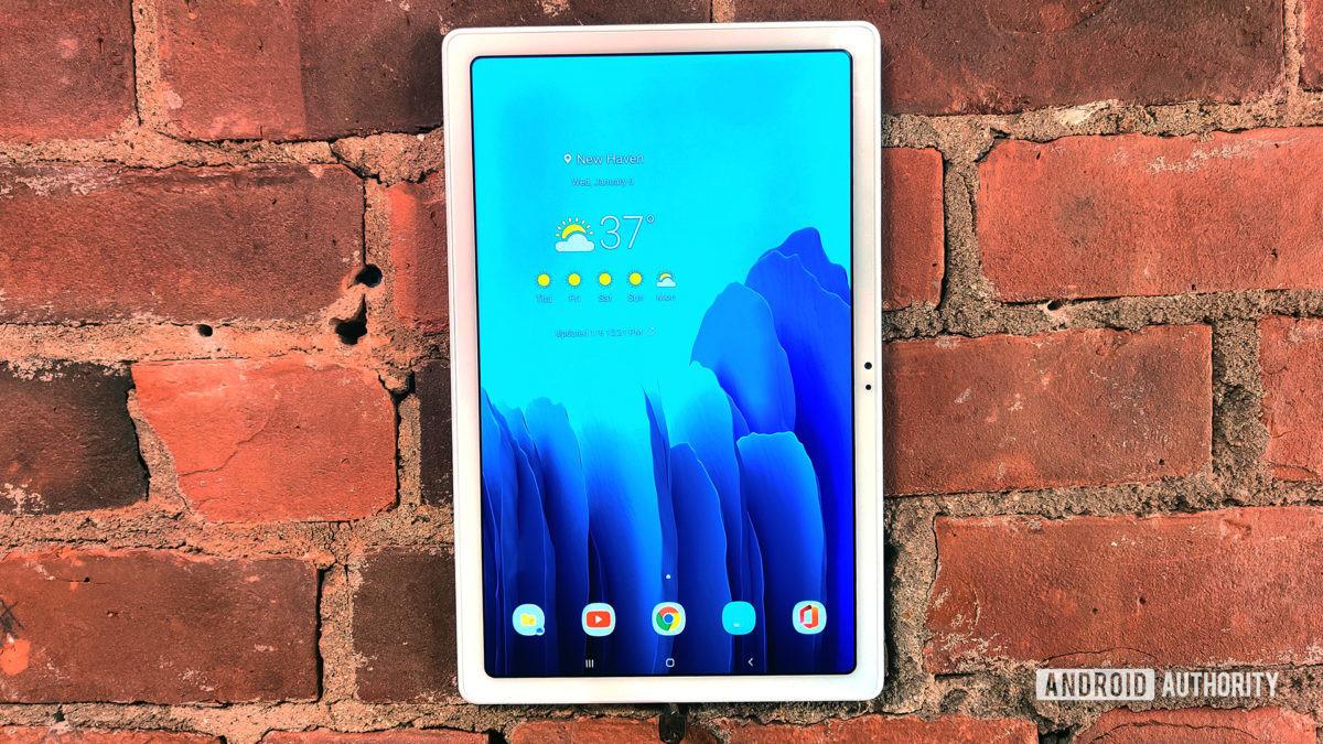 Samsung Galaxy Tab A7 2020 Tablet on Brick Wall