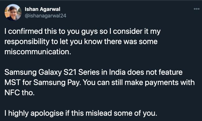 Ishan Agarwal Galaxy S21 MST Tweet