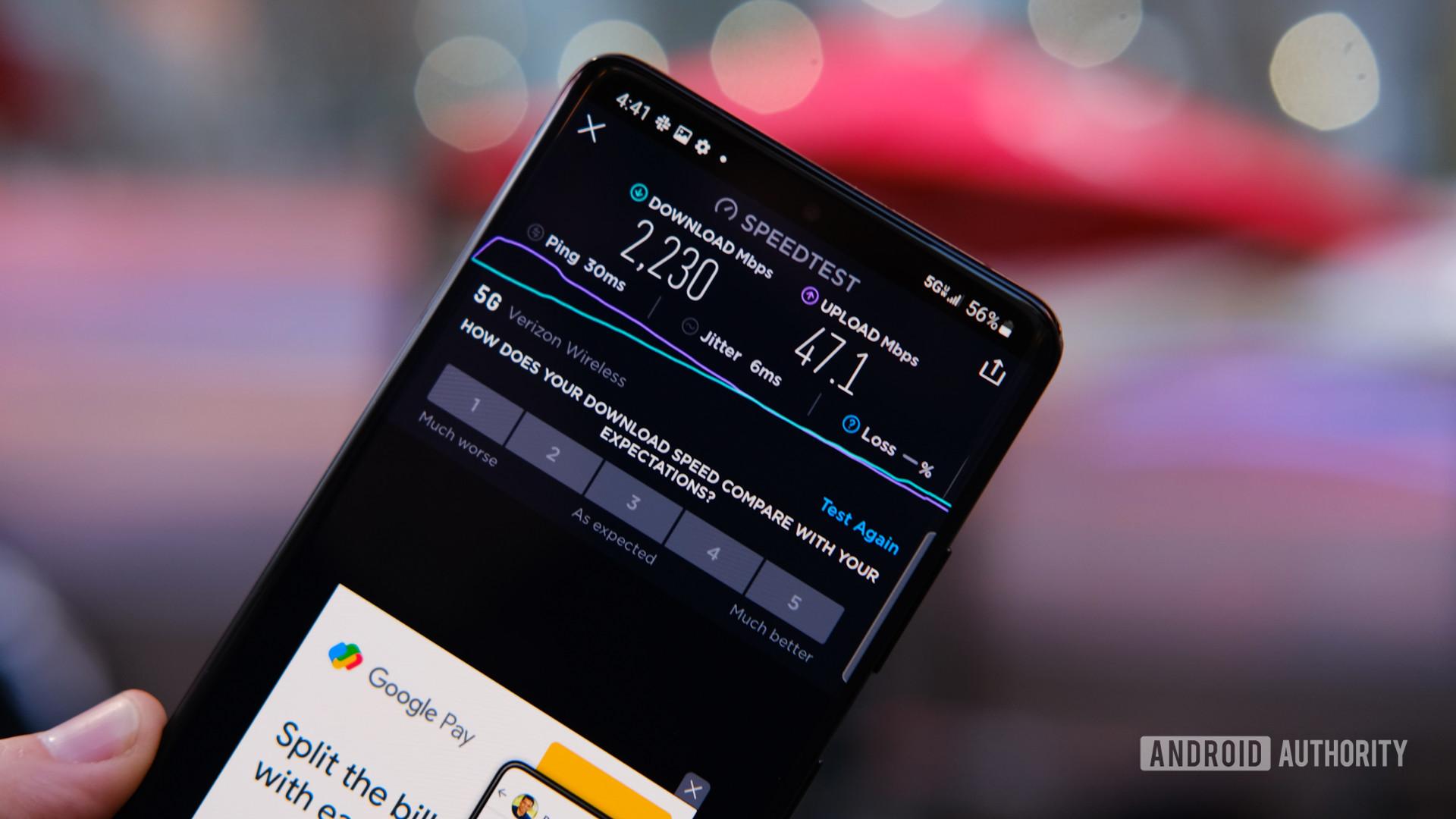 Samsung Galaxy S21 Ultra 5G speed test
