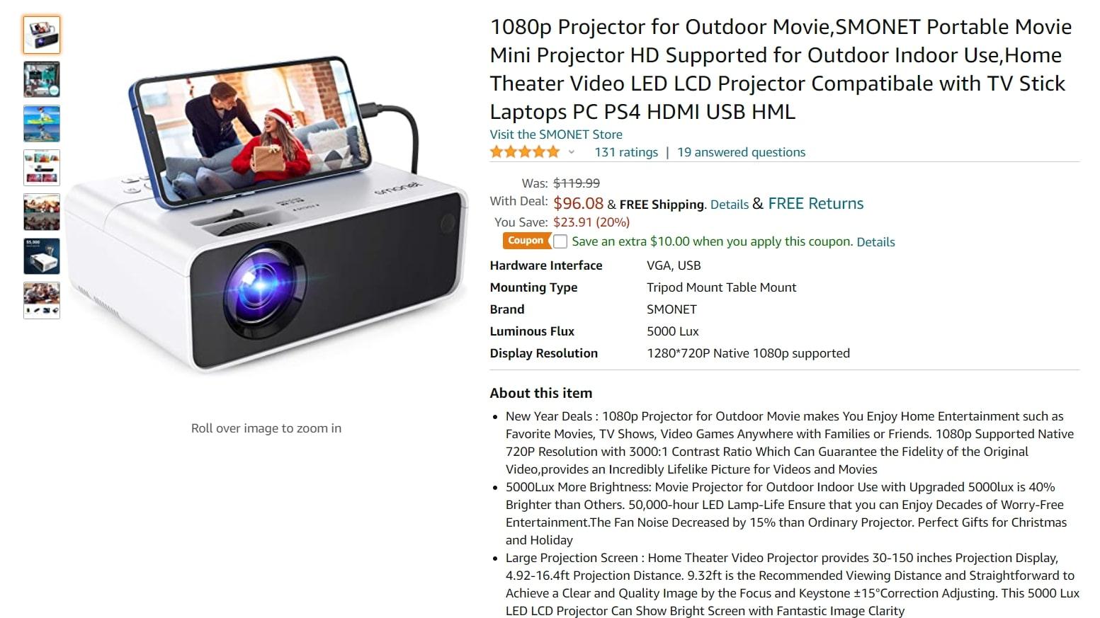 Smonet Mini HD Projector Deal
