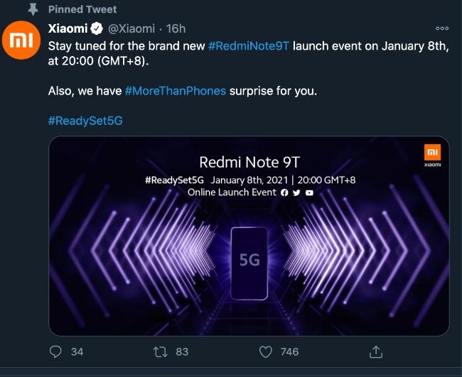 Xiaomi Redmi Note 9T launch teaser twitter