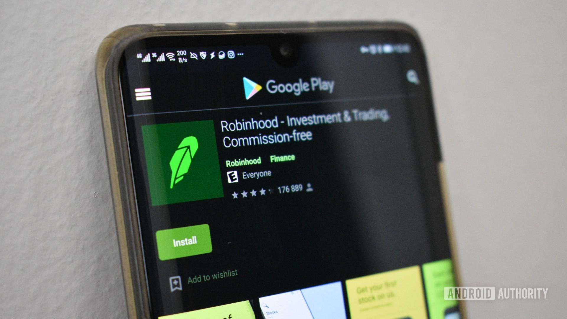 Robinhood on a phone screen