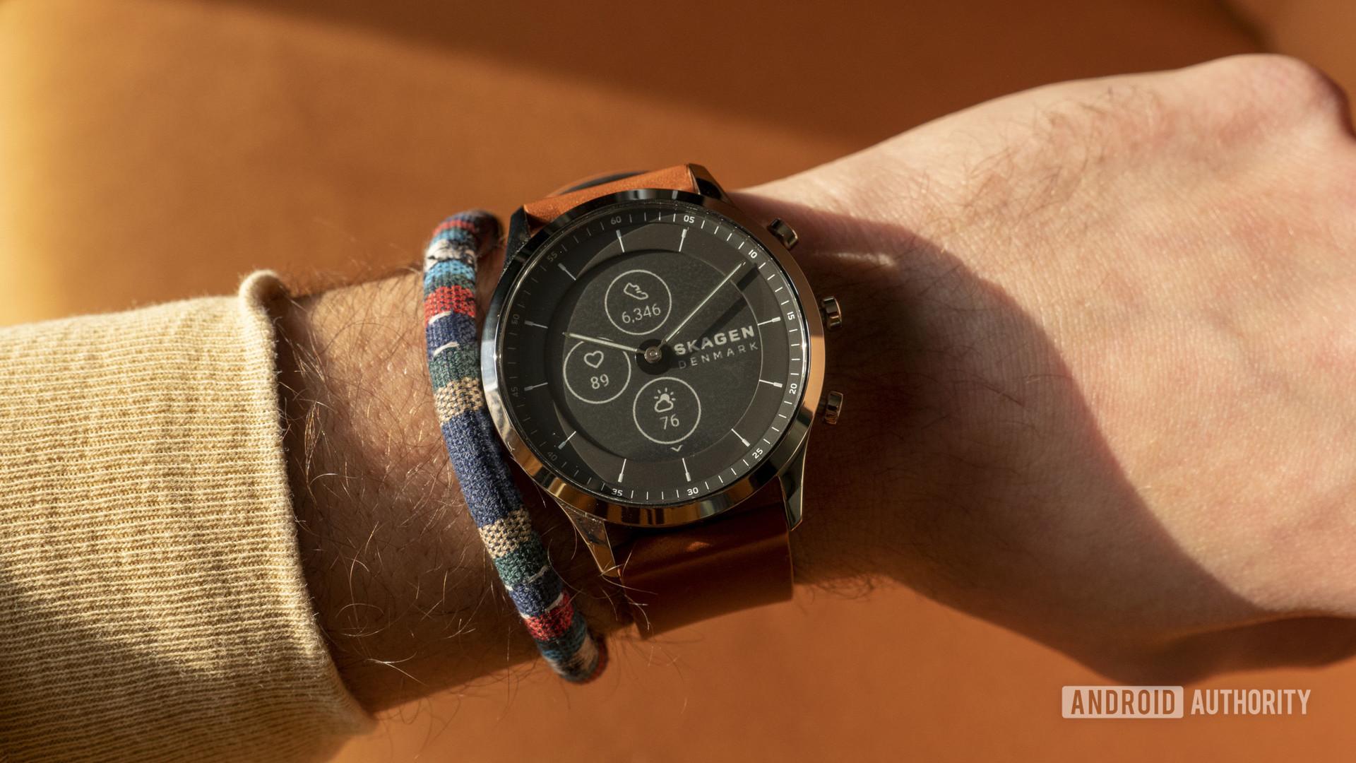 skagen jorn hybrid hr smartwatch on wrist