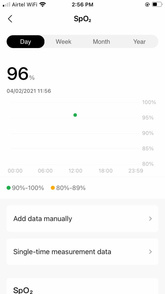 Amazfit GTS 2 Mini SpO2 tracking on app