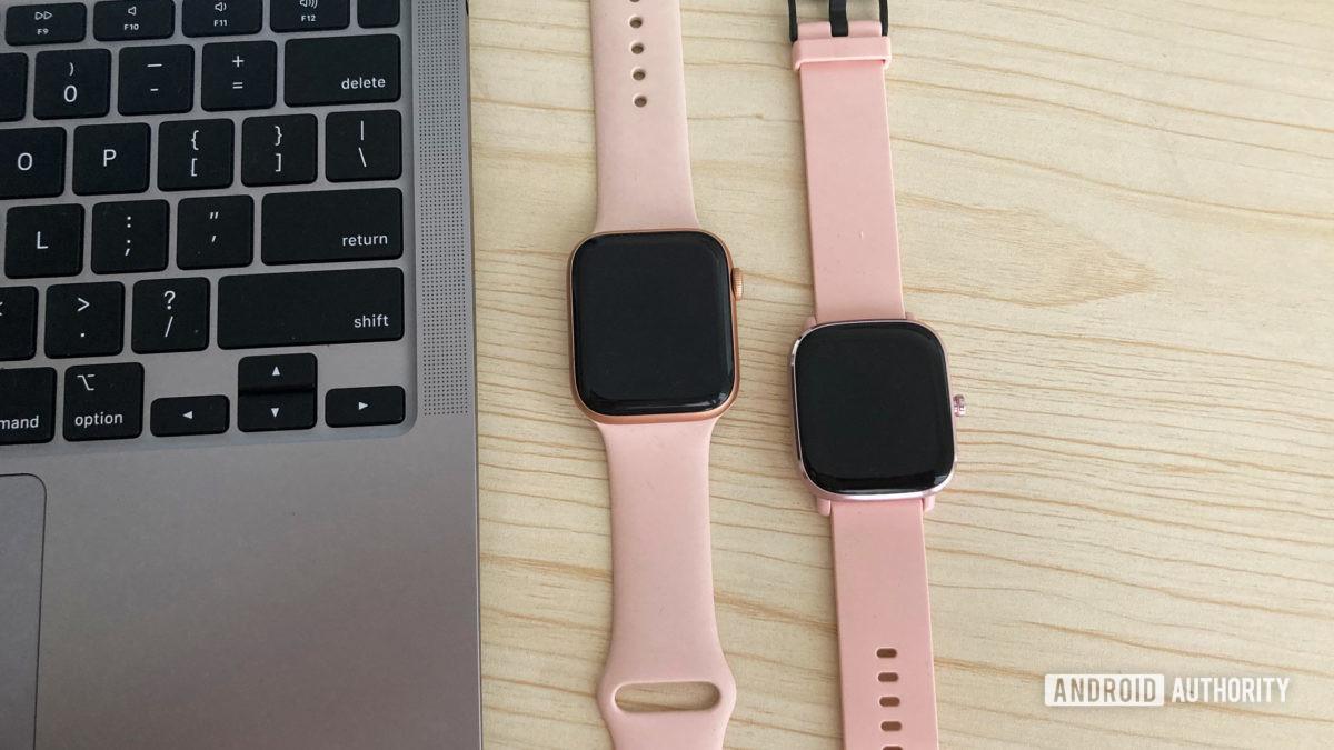 Amazfit GTS 2 Mini vs Apple Watch 6 Pink
