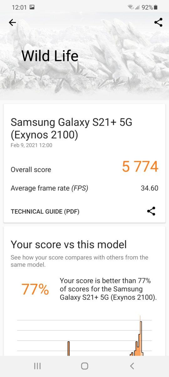 Samsung Galaxy S21 Plus 3DMark 2 Exynos 2100