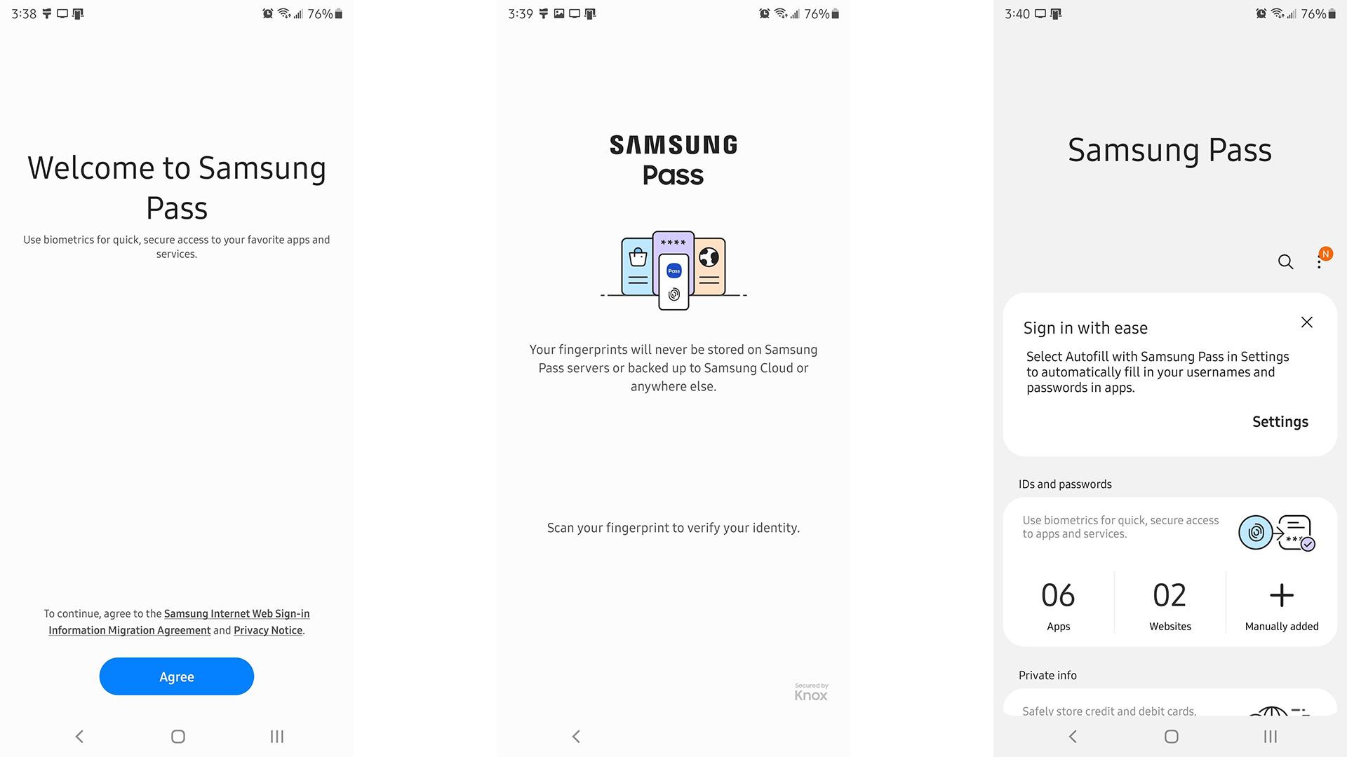 Samsung Pass screenshot 2021
