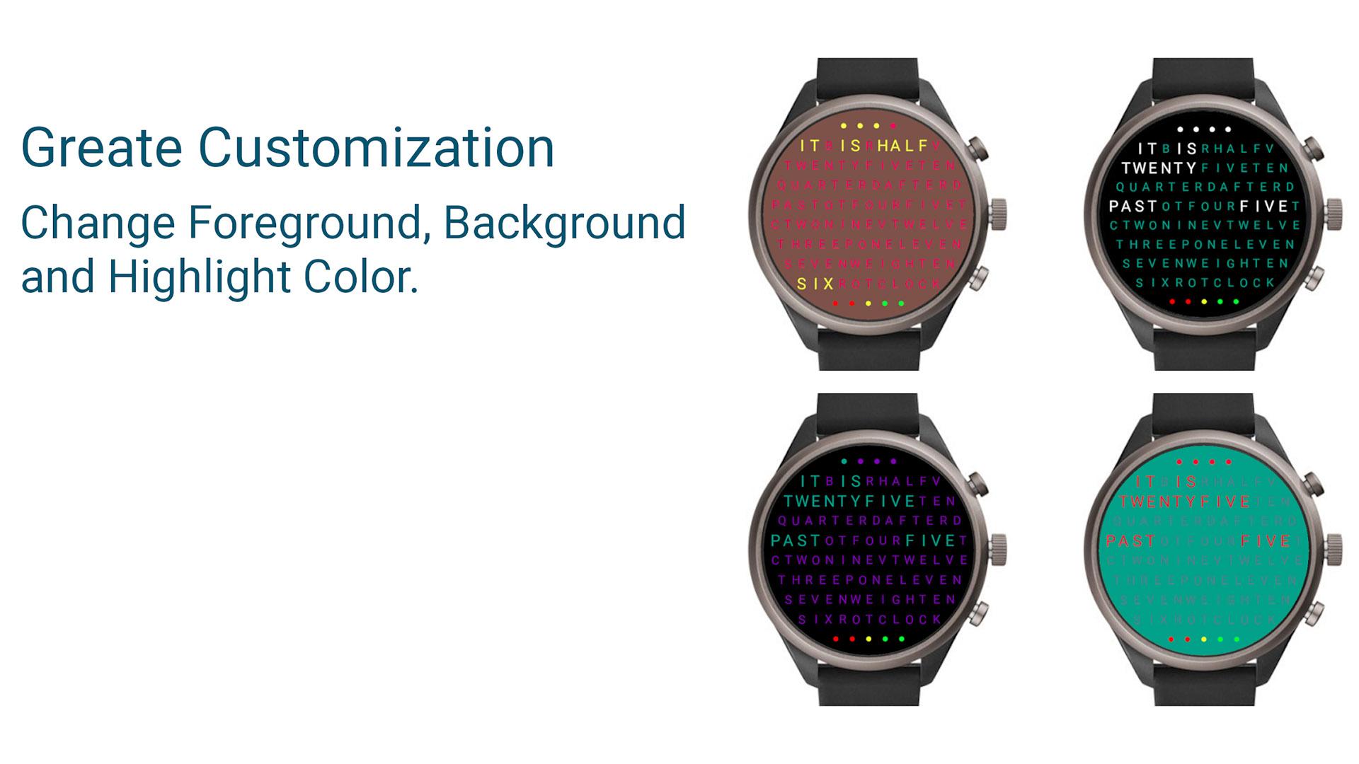 Word Clock Watch Face screenshot