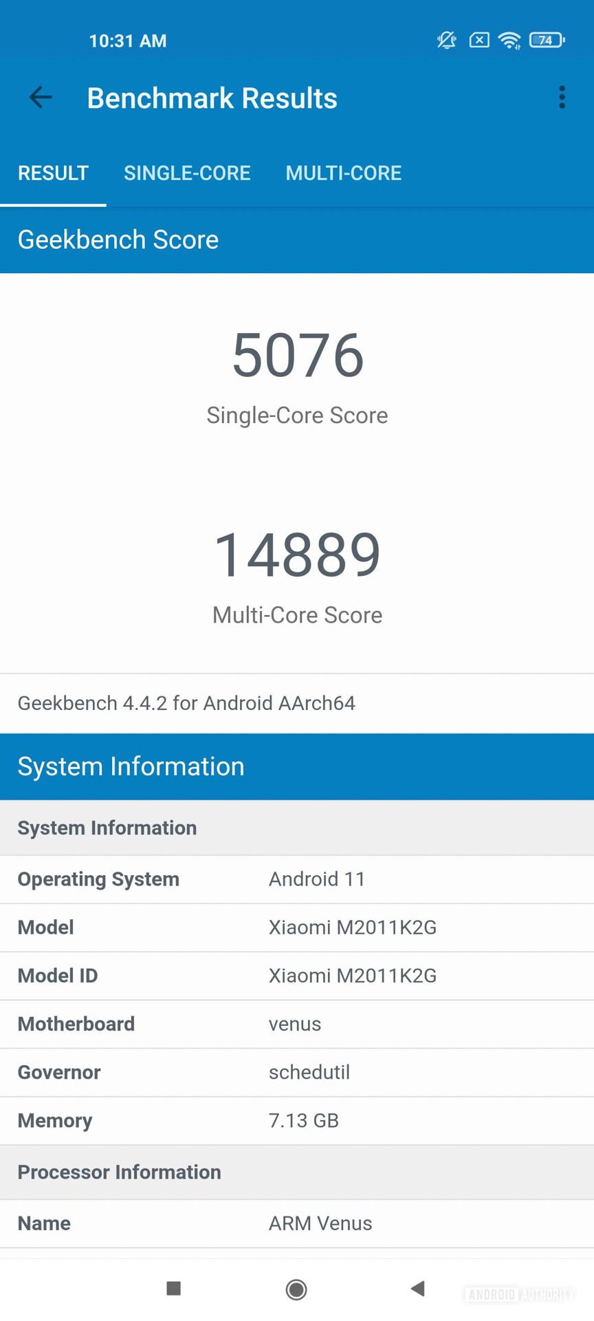 Xiaomi Mi 11 MIUI 12 Geekbench 4