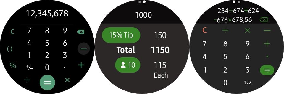 samsung calculadora galaxy watch aplicaciones