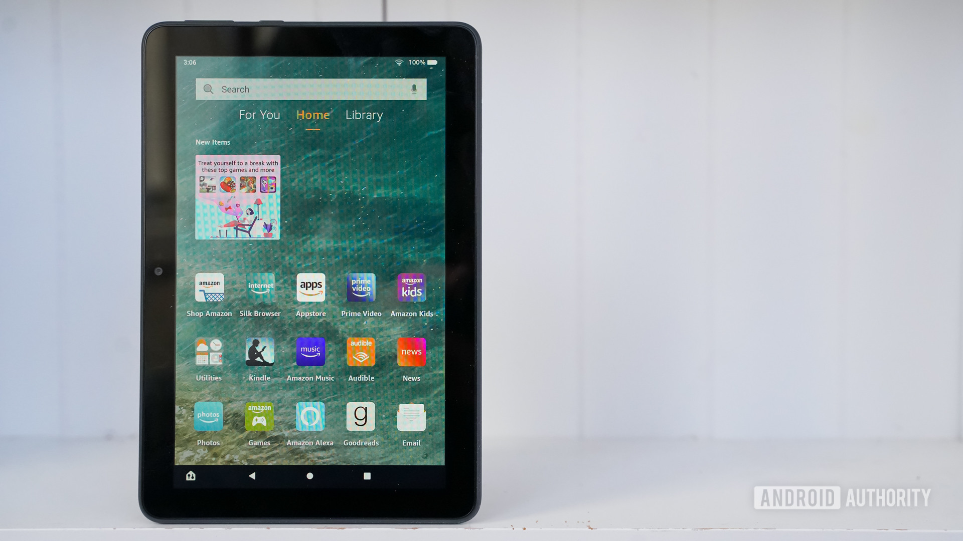 Amazon Fire 8 HD Plus front panel on white