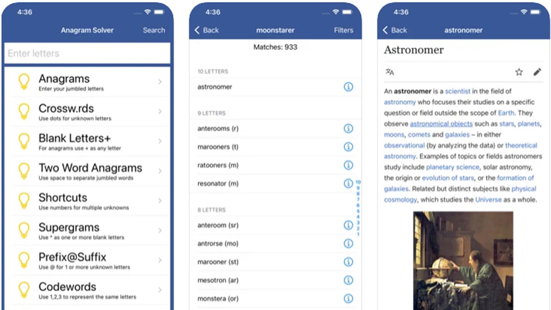 Anagram Solver iOS screenshot 2021