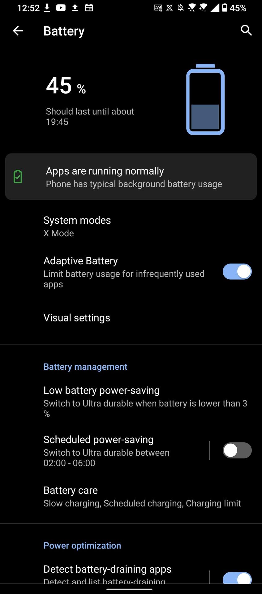Asus ROG Phone 5 Battery percentage screen
