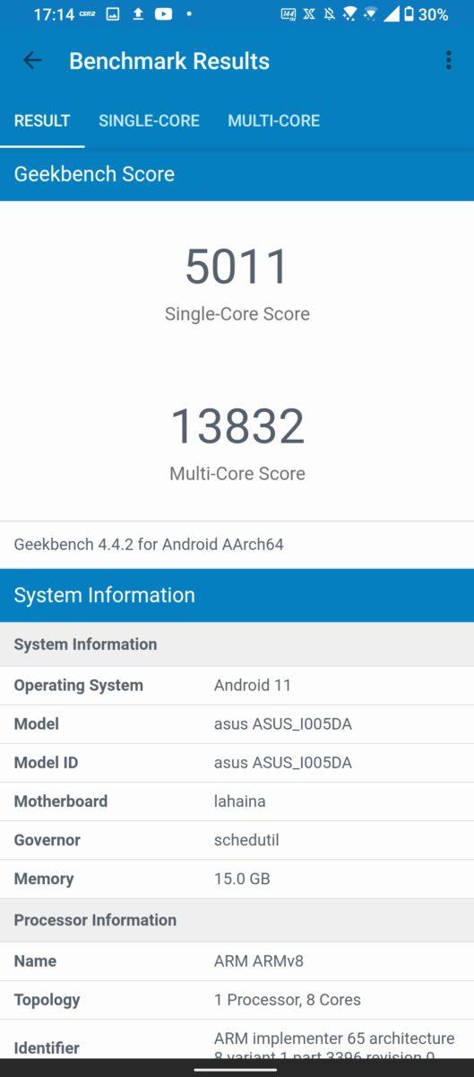 Asus ROG Phone 5 Geekbench 4