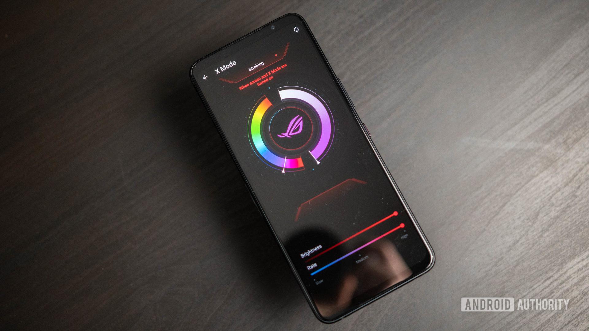 Asus ROG Phone 5 product shot of the RGB LED logo customization page