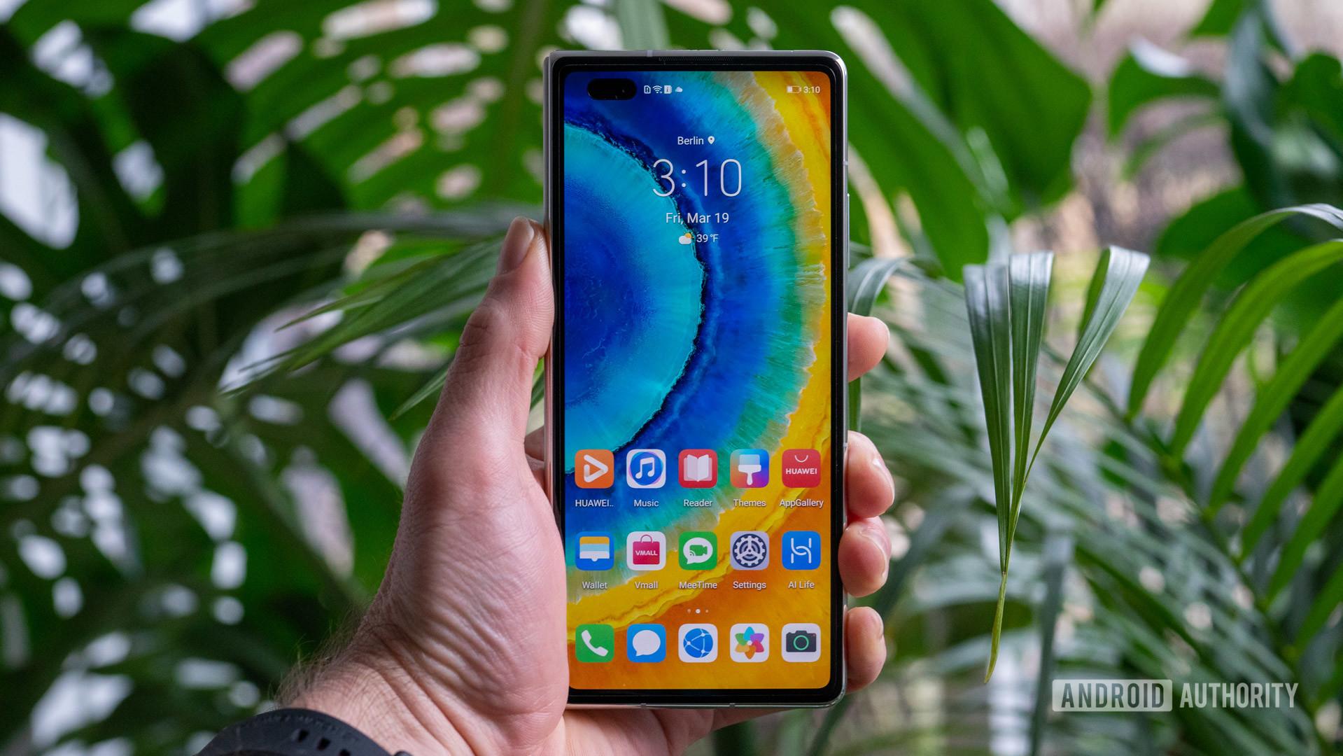 Huawei Mate X2 home screen in hand