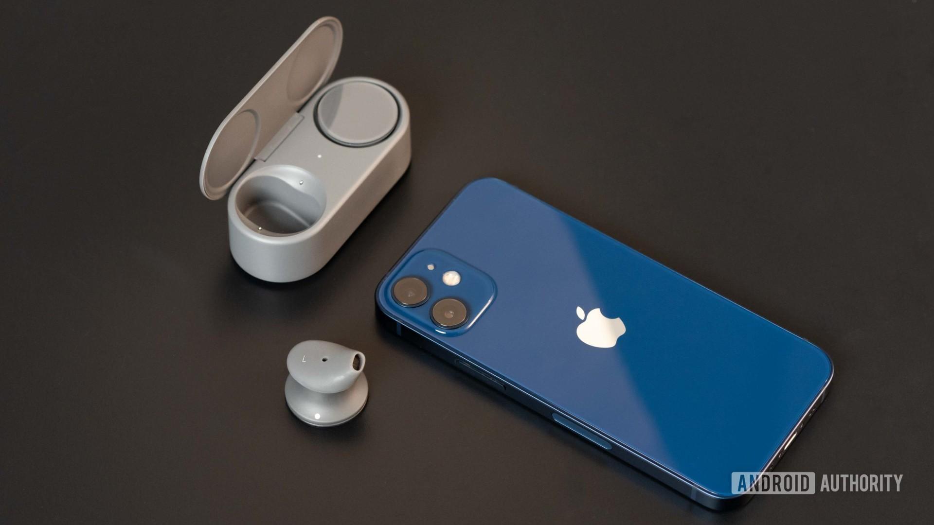 Microsoft Surface Earbuds true wireless earbuds open case iphone 12 mini