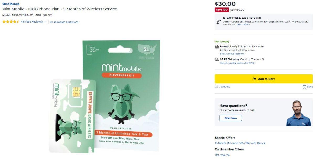 Mint Mobile 10GB Plan Best Buy Deal