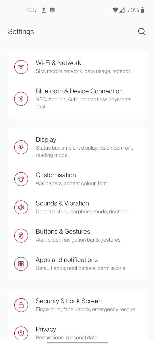 OnePlus 9 Oxygen OS 11 Settings