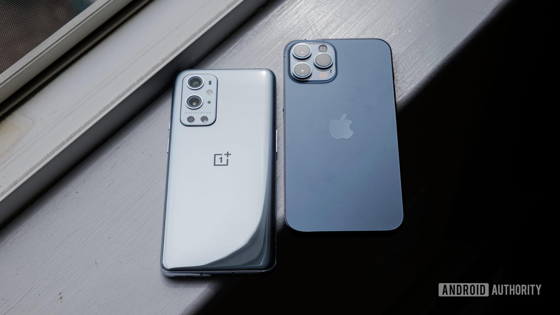 OnePlus 9 Pro vs iPhone 12 Pro Max on windowsill