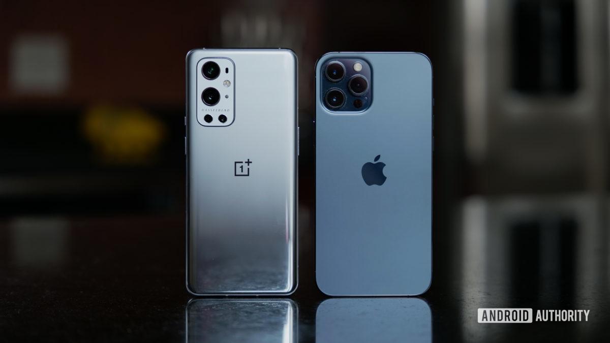OnePlus 9 Pro vs iPhone 12 Pro Max on countertop