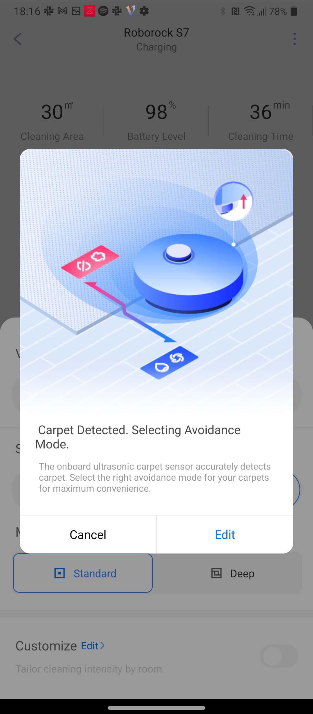 Roborock S7 app carpet detected
