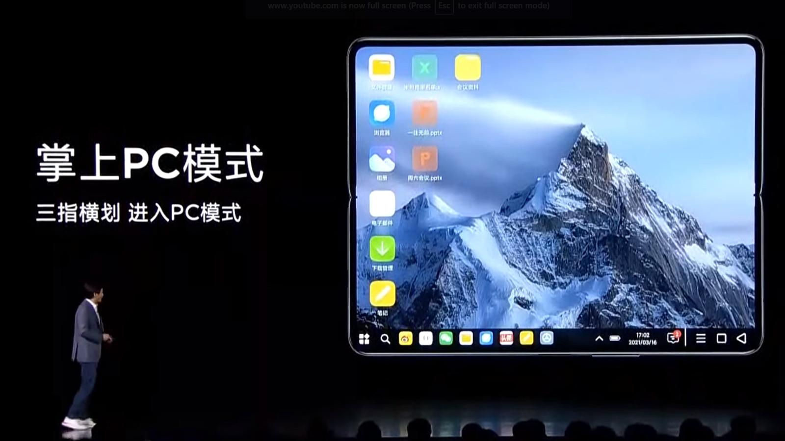Xiaomi Mi Mix Fold PC mode