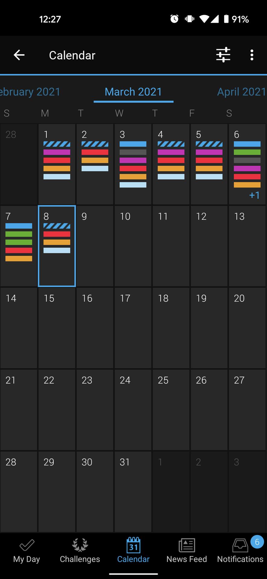 garmin connect calendar view