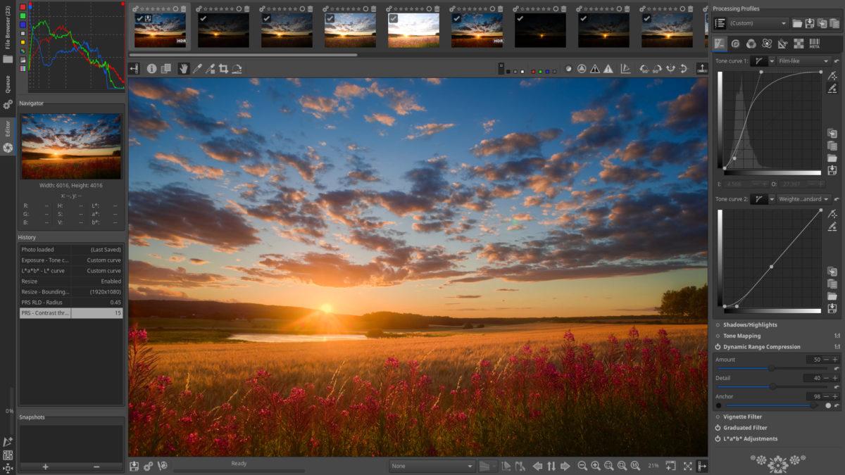 linux photo editors rawtherapee