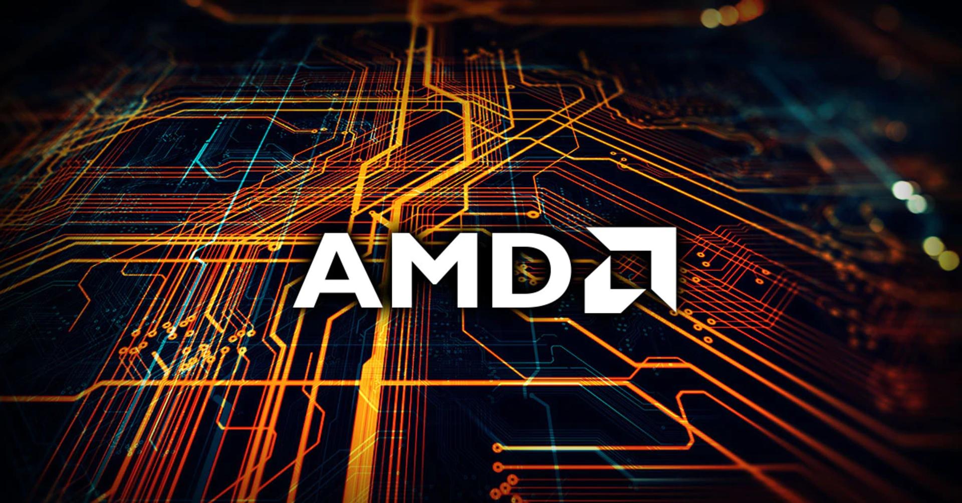 AMD processor logo on circuit background