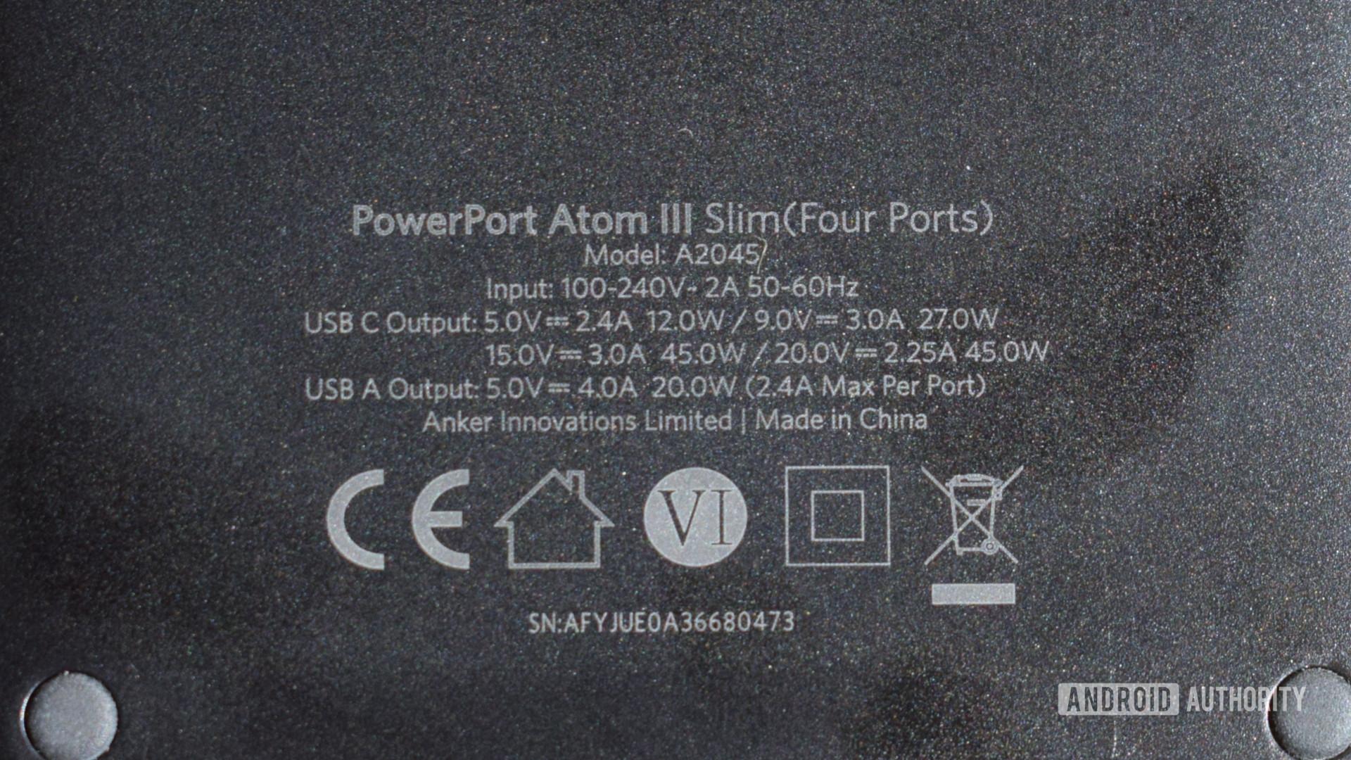 Anker PowerPort Atom III Slim specs