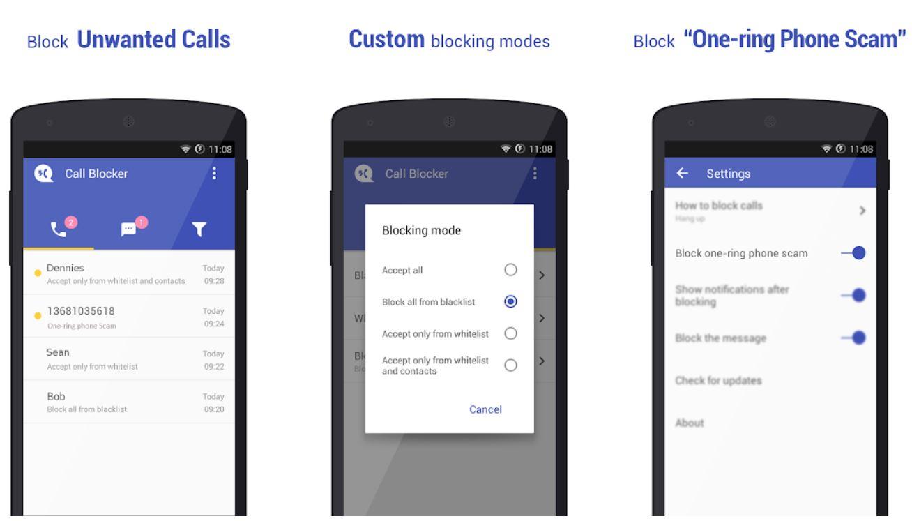 Call Blocker screenshots - How to block a phone number