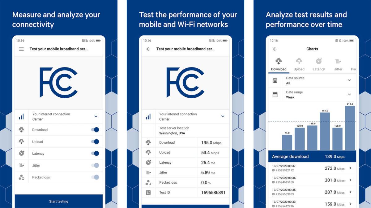 FCC Speed Test screenshot