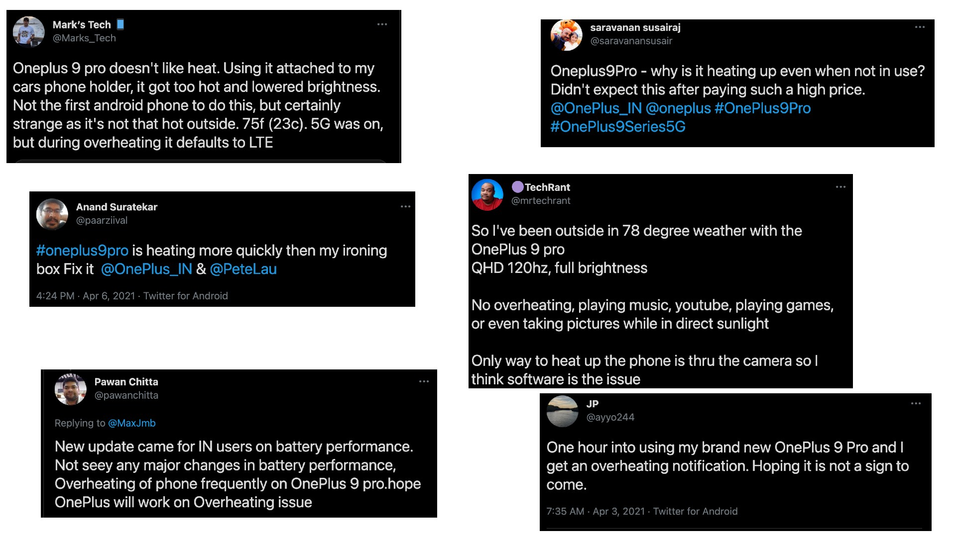 OnePlus 9 Pro overheating complaints from Twitter