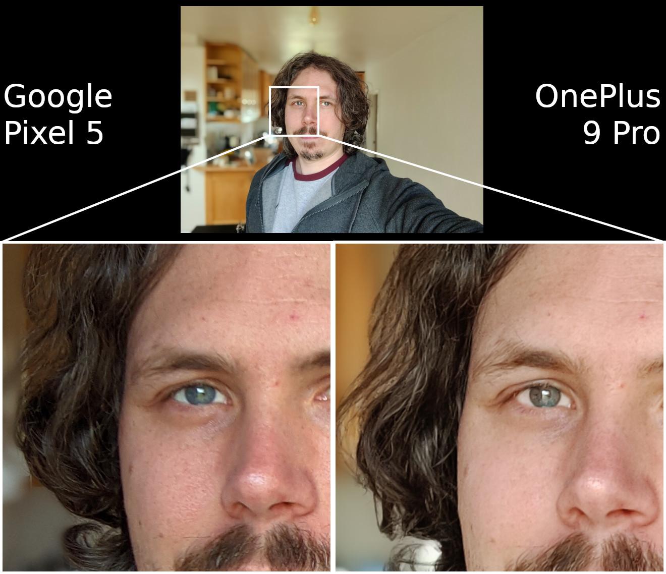 OnePlus 9 Pro vs Google Pixel 5 selfie
