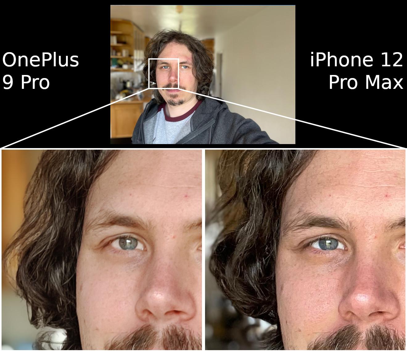 OnePlus 9 Pro vs iPhone 12 Pro Max selfie