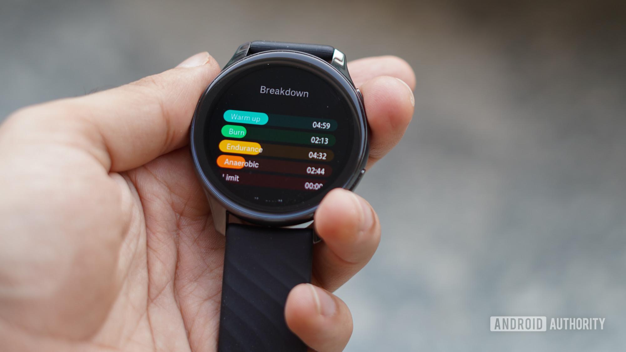 OnePlus Watch workout breakdown