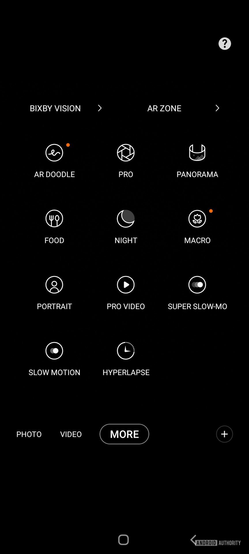 Samsung Galaxy A52 5G camera shooting modes