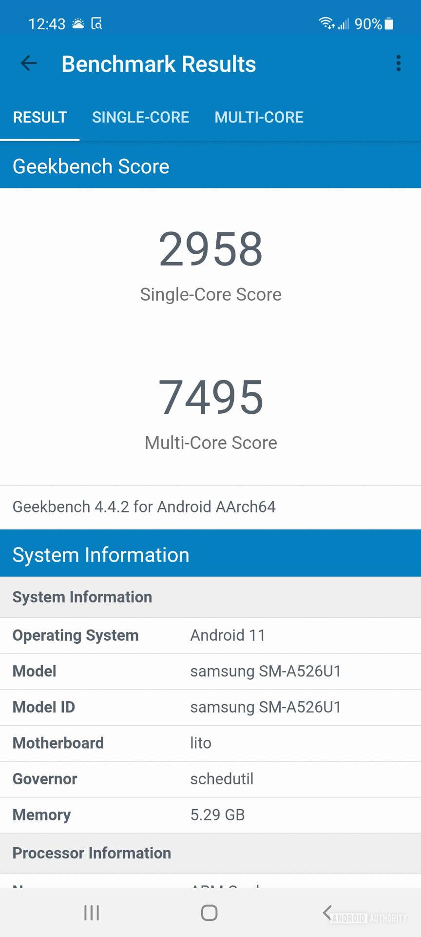 Samsung Galaxy A52 5G geekbench 4