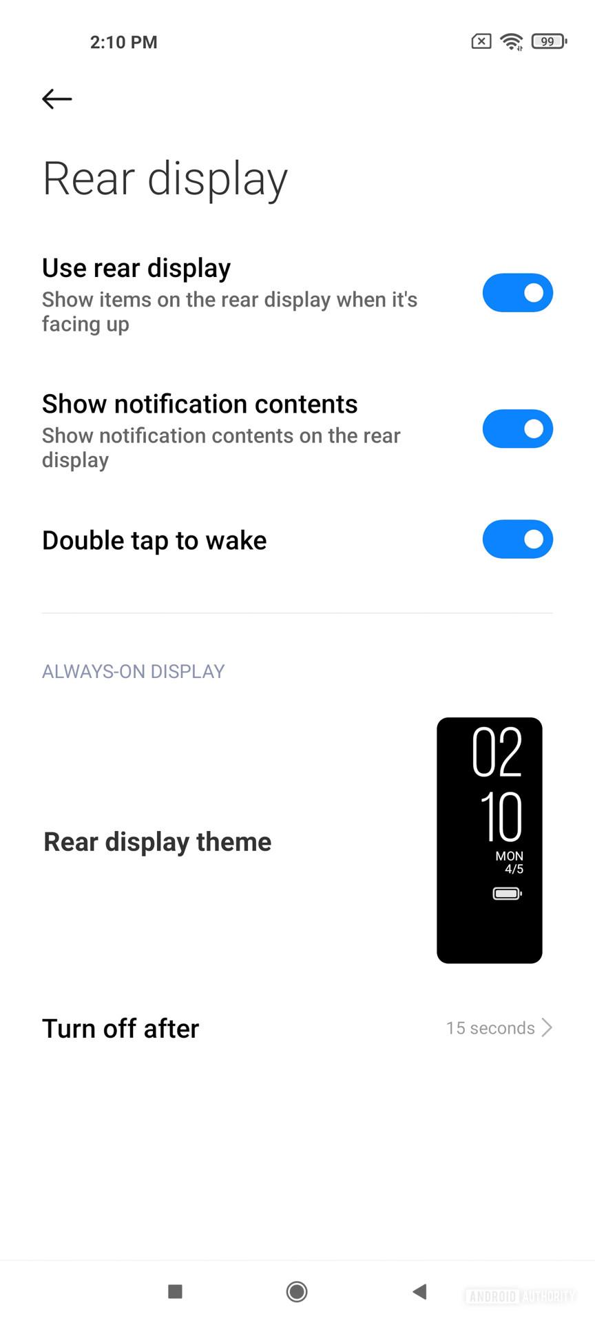 Xiaomi Mi 11 Ultra Rear Display controls